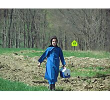 Amish Girl Coming in From the Fields Photographic Print