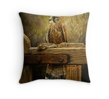 Kestrel and mouse on fence. Throw Pillow