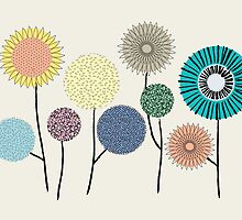 Flower and seed pods in pastel colours, Graphics by Emily King
