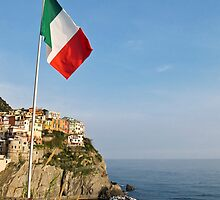Italian flag and Manarola by Anne Scantlebury