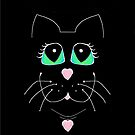 Cat With Sweet Heart Pendant by Jean Gregory  Evans