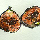Figs: halved. Pen and wash. 2012.  by Elizabeth Moore Golding