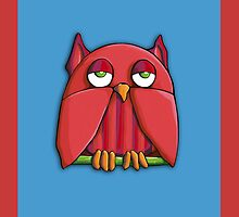 Red Owl aqua red by mrana