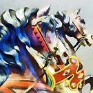 Two Carousel Horses Closeup by Susan Savad