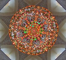 Chandelier in Sheikh Zayed Grand Mosque, Abu Dhabi, UAE. by dowzerr