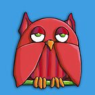 Red Owl aqua iPhone Case by mrana