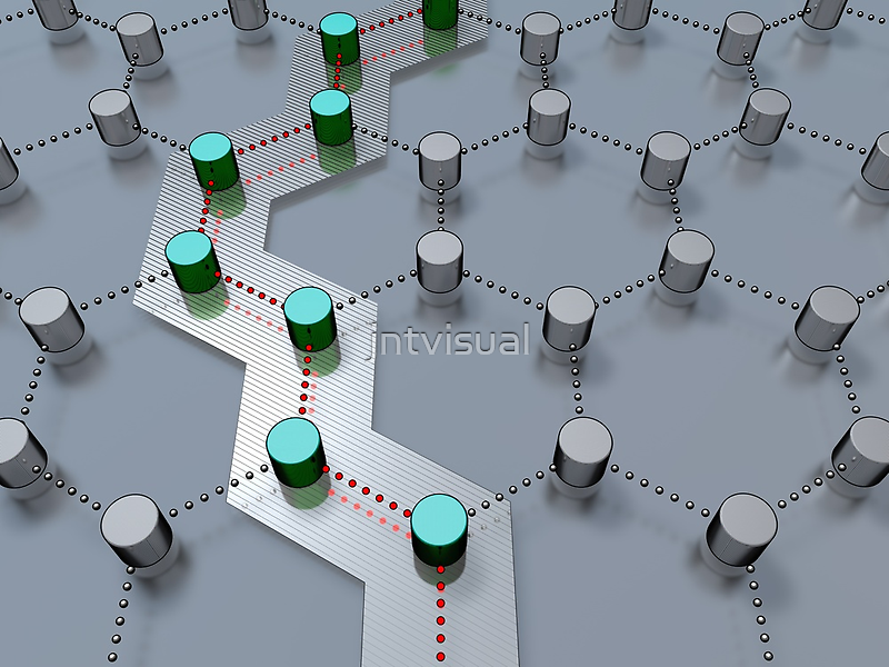 pathway through 3D-modeled interlinked nodes by jntvisual