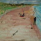 Surf fishing at Venus Bay by Initially NO