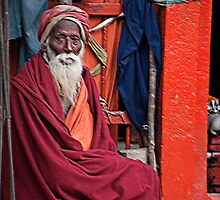 Old Hindu Priest by phil decocco