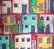 Greek buildings on a hot day, water colour by Emily King