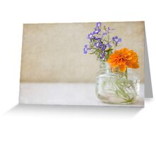Marigold and Lobelia in a jar vase Greeting Card