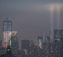 new york city tribute of light; 9/11/2011 by Kevin Koepke