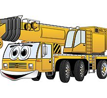 Short Yellow Cartoon Crane by Graphxpro