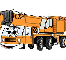 Short Orange Cartoon Crane by Graphxpro