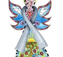 Brain Cancer Ribbon Angel ~ Peace, Love, Faith and Hope by Lisa Frances Judd ~ QuirkyHappyArt