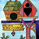 Birds are Welcome by Lisa Frances Judd~QuirkyHappyArt