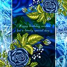 Blue Rose Birthday Greeting Card by Moonlake