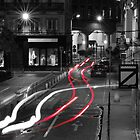 Cars Trail of Lights in architectural black and white scenery by Debellez