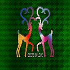 Deers In Love - Green*01 by Vidka Art