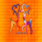 Deers In Love - Orange*02 by Vidka Art