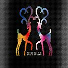 Deers In Love - Black by Vidka Art