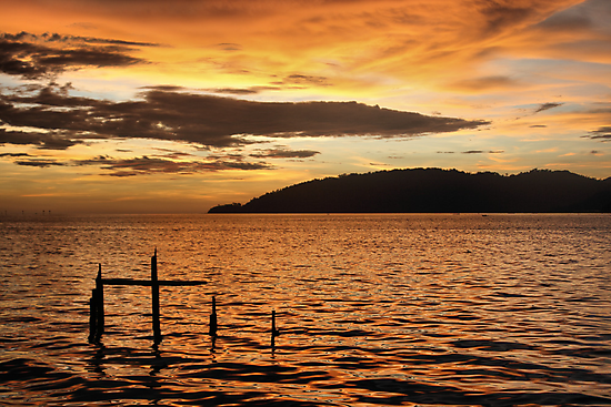 Golden Sunset with Broken Down Pier, Kota Kinabalu by Carole-Anne