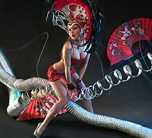 Las Vegas Dancer posing at futuristic background on club stage by Anton Oparin