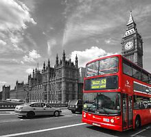 London Big Ben & Red Bus by Yhun Suarez