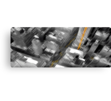 Cityscape Black White & Yellow Oil Painting Canvas Print