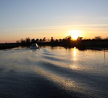 Bure River Sunset by perrycass