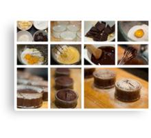 Chocolate Fondant - collage photo recipe Canvas Print
