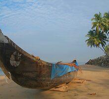 Boat and Palms on Black Beach Varkala by SerenaB