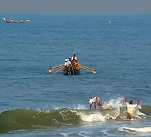 Fishermen off Black Beach Varkala by SerenaB
