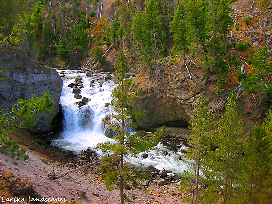 Firehole falls flowing freely by Erika Price