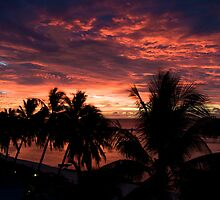 Silhouette Cook Island sunset by Jake Karpinski