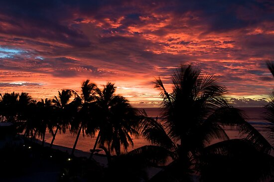 Silhouette Cook Island sunset by Jake Karpinski