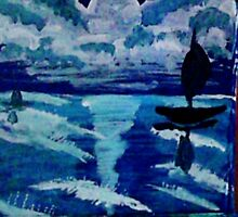 Moonlight sail,,, watercolor by Anna  Lewis