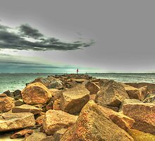 The Jetty at Salty Brine Beach  by John  Kapusta