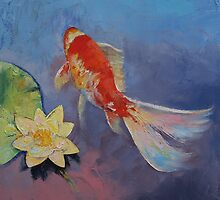 Koi on Blue and Mauve by Michael Creese