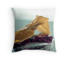 Frozen Withered Rose Throw Pillow