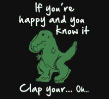A Happy Dinosaur? White Text by barnsleynut
