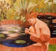 Boy Fishing In Pond by Fred Jinkins