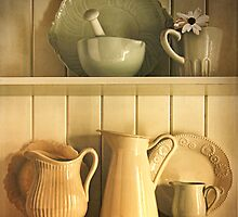 Jugs and pitchers on shelves by Sandra Cunningham