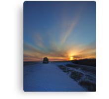 Cold winter morning in the Bakken oil fields, North Dakota Canvas Print