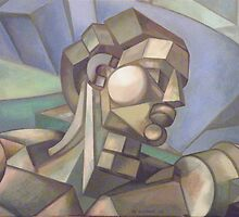 michaelangelo cubist head version of adam by Ronald Eschner