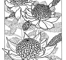 Australian Flower Series - Waratah B&W by MyArtefacts