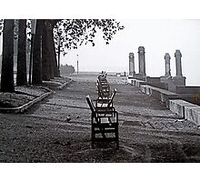 Lakefront Benches Photographic Print