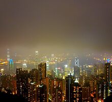 foggy Hong Kong night by supergold