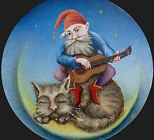 Gnome and sleeping cat by Vsevolod