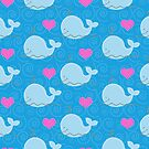 Little Blue Whales and Hearts Case by JessDesigns